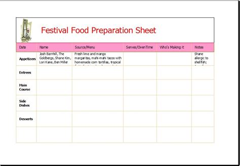 festival food preparation sheet word excel templates