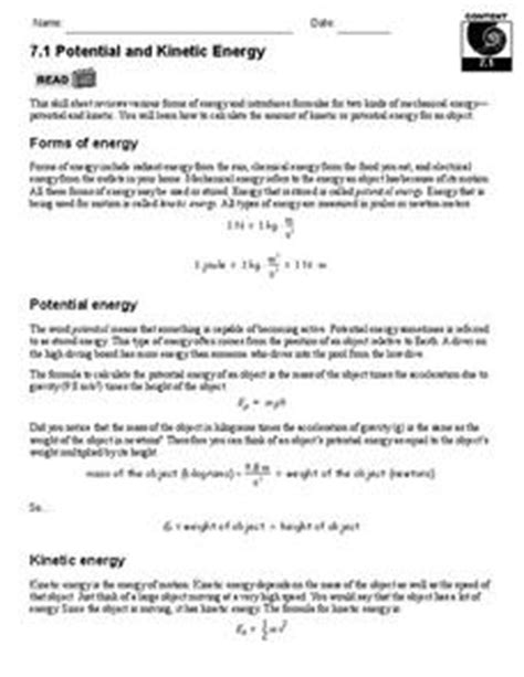 More science lessons (ks3) math worksheets. Potential and Kinetic Energy 9th - 12th Grade Worksheet ...