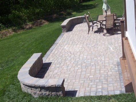 patio cambridge paver patio with bookend curved