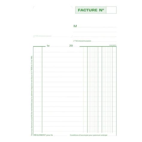 Carnet de Facture sans mention de TVA 210 x 148 mm