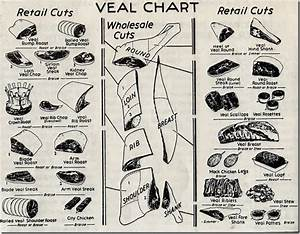 Garden And Farms  A 1954 Chart Of Veal And Beef Retail Cuts