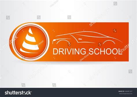 silhouette car logo driving school stock vector