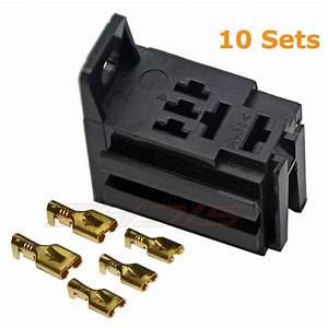 40 Amp Relay Board Mount Connector 5 Pin Relay Socket Bracket With 5 Terminals