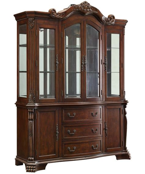 Brown Wood Buffet Hutch  Stealasofa Furniture Outlet