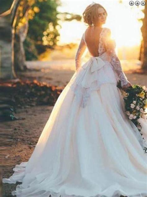 stunning backless long sleeves ball gown organza wedding