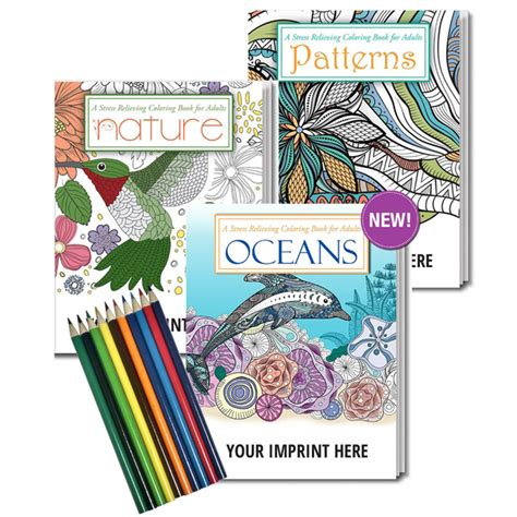 adult coloring book gift pack with colored pencils show