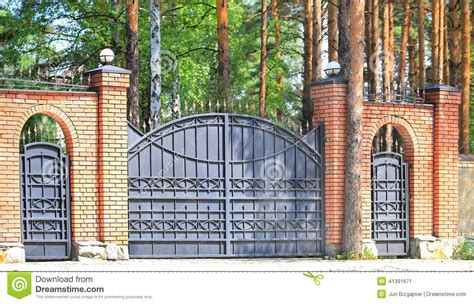 brick wall with gate brick wall with metal gate stock photo image 41391671