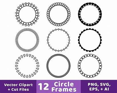 Circle Frame Frames Clipart Monogram Labels Svg