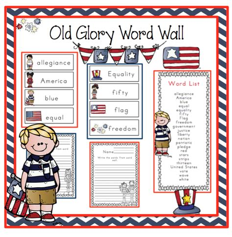 glory word wall preschool printables