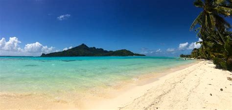 Tropical Beach Maupiti Island French Polynesia Panoramic