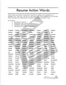 resume word lists to use resume exle verbs for resumes list free sle resume adjectives words in