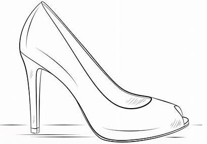 Coloring Heel Shoes Pages Adults Shoe Heels