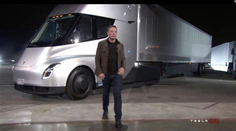 elon musk unveiled teslas  electric semi truck