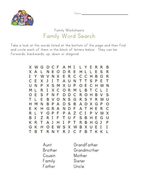how to find family members family member word search work words