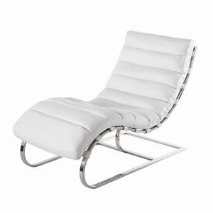 Chaise A Bascule Blanche : chaise longue cuir blanc freud maisons du monde ~ Teatrodelosmanantiales.com Idées de Décoration
