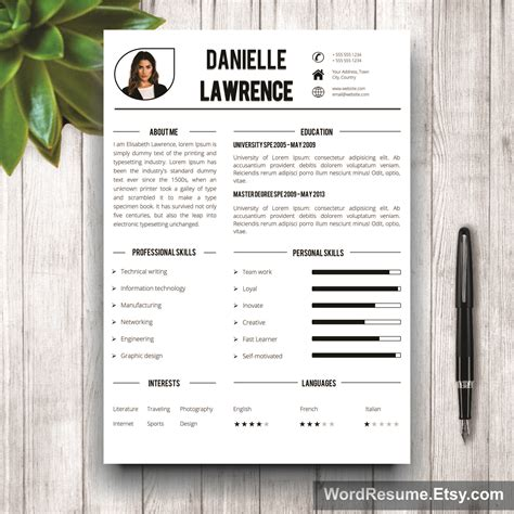 Artsy Resume Templates by Modern Resume Template For Word Quot Danielle