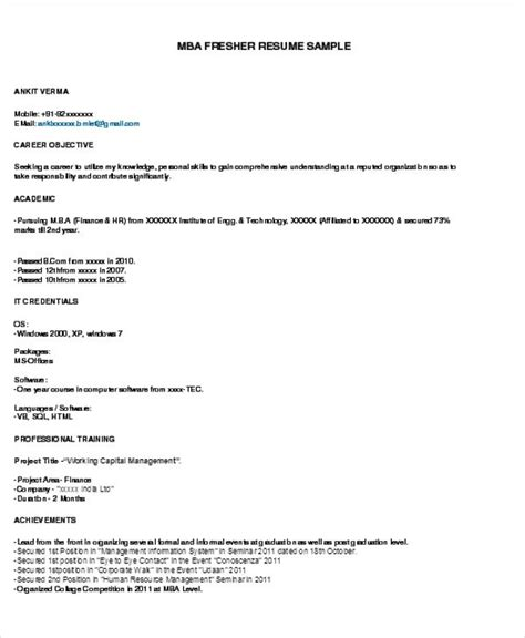 Resume Sles For Freshers by Mba Fresher Resume Sle Pdf Resumes