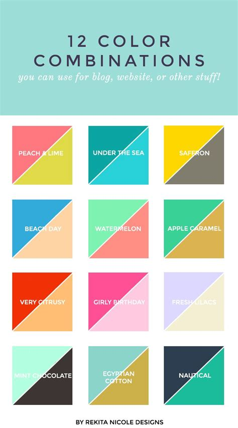 12 Color Combinations  Design Color, First Birthday