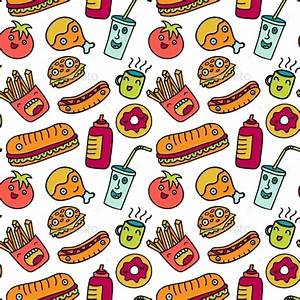 Fast Food Seamless Background. Funny Cartoon by Olga_km ...