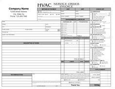 hvac invoice template   hvac invoice