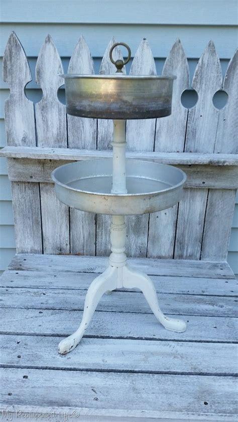 metal tiered stand  vintage cake pans  repurposed
