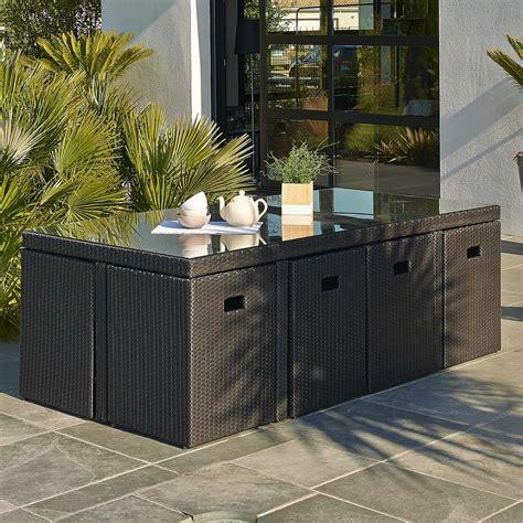 Salon de jardin Encastrable ru00e9sine tressu00e9e noir 1 table + 8 fauteuils | Leroy Merlin