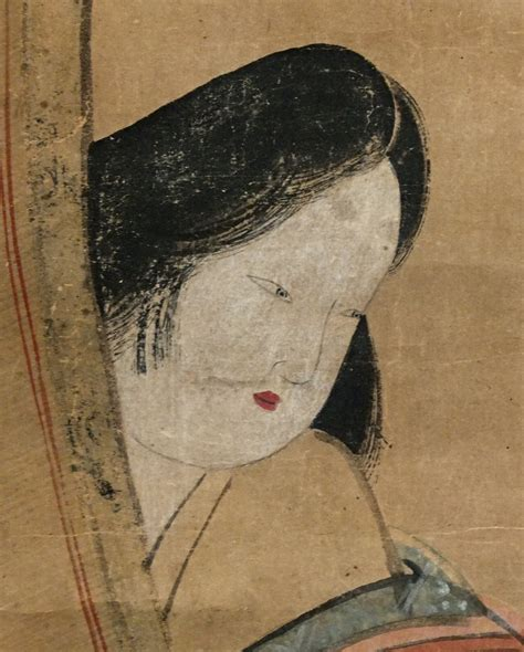 sp  heian beauty playing cat antique scroll