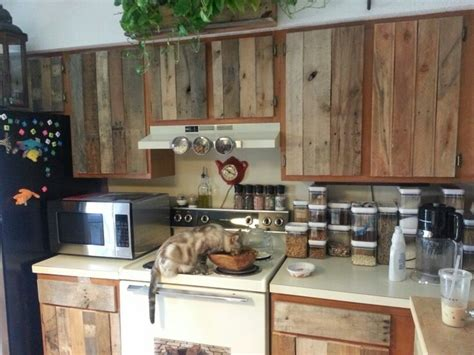 pallet kitchen cabinets diy diy cabinet refacing with pallet board new home