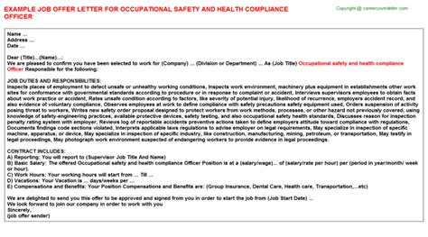 occupational safety  health compliance officer job