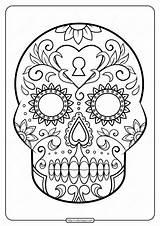 Skull Coloring Sugar Printable Pdf sketch template