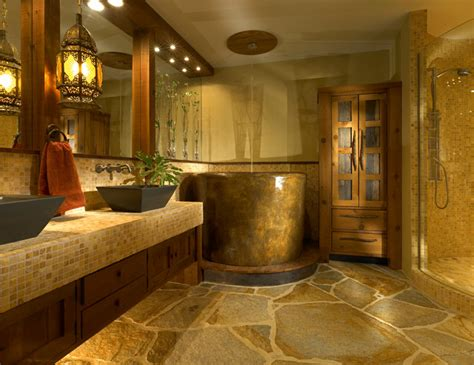 Custom Bath Wth Japanese Soaking Tub-rustic-bathroom