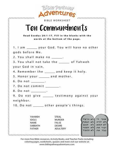 Ten Commandments Worksheet For Kids  Ten Commandments, Bible Activities And Worksheets