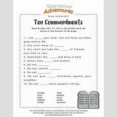 Ten Commandments Worksheet For Kids  Szkoła  Bible Activities For Kids, Bible Lessons For Kids
