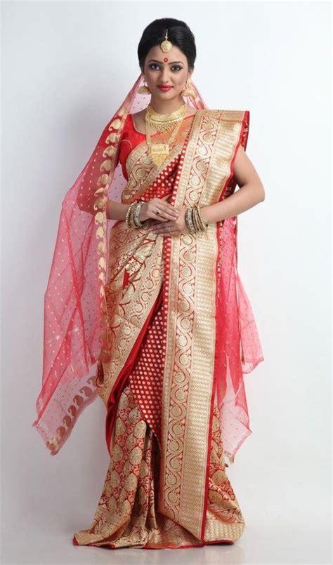 bengali saree draping beautiful and gold banarasi silk saree ব ঙ ল
