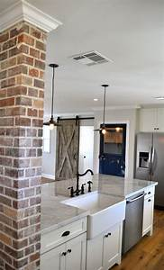 best 25 brick accent walls ideas on pinterest kitchen With kitchen colors with white cabinets with large metal wall art panels