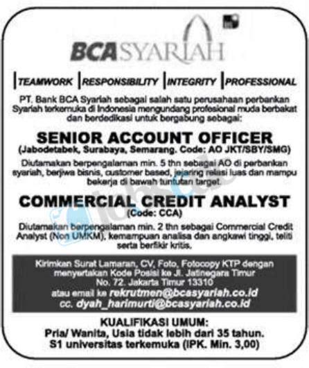 lowongan bank bca syariah senior account officer