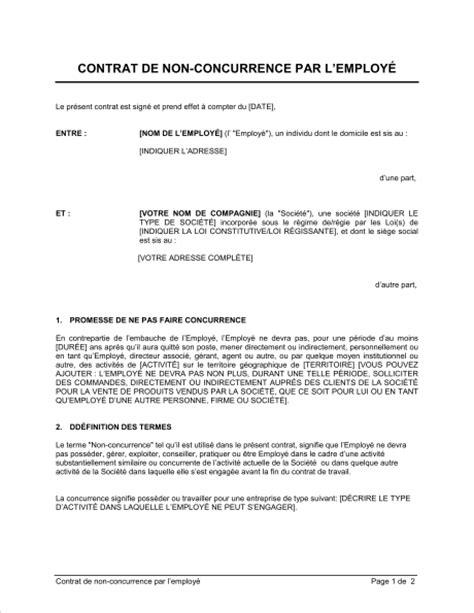 modele contrat de travail avec clause de non concurrence comment faire un cv 2018