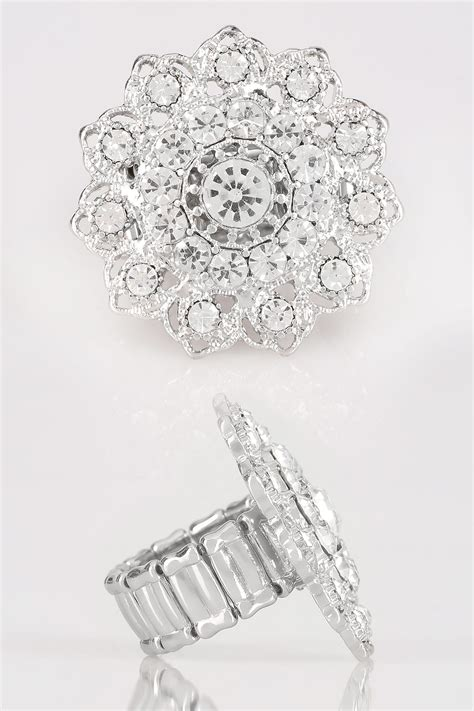 Silver Mandala Stretch Ring With Diamante Details