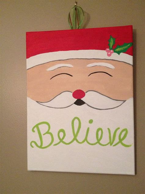 santa christmas canvas  etsy  crafts pinterest christmas canvas santa