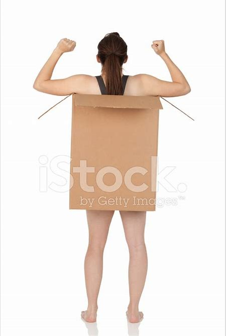 Rear View of Naked Woman IN A Cardboard Box stock photos - FreeImages.com