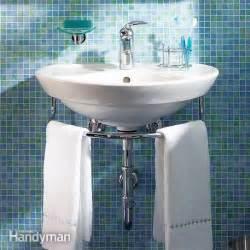 small bathroom sink ideas installing a bathroom sink wall hung sink the family handyman