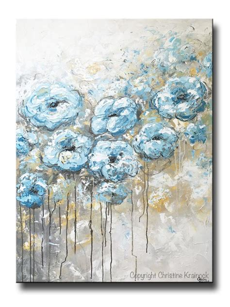 Abstract Black Flower Painting by Original Abstract Flowers Painting Floral Blue White