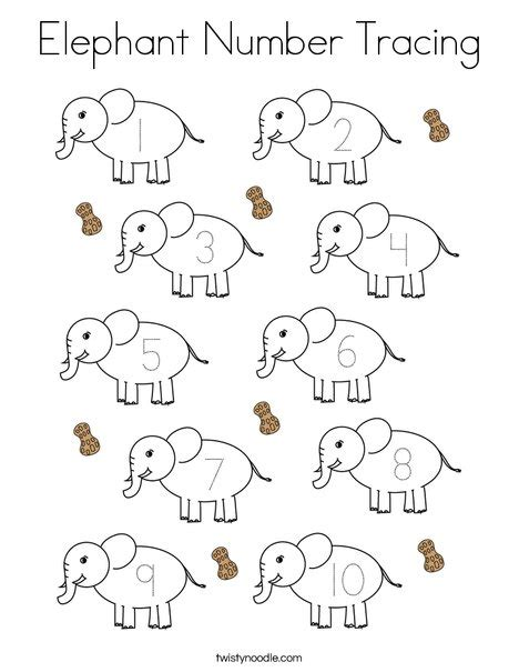 elephant number tracing coloring page twisty noodle