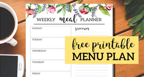 floral  printable meal planner template paper trail