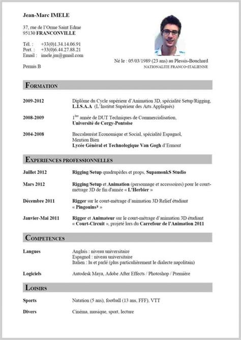 Exemple Cv Type by Exemple Cv Type Modele Simple Cv Codesducambresis