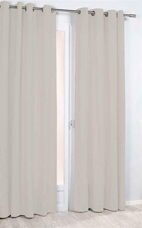 rideau phonique et thermique uni ivoire gris fonc 233