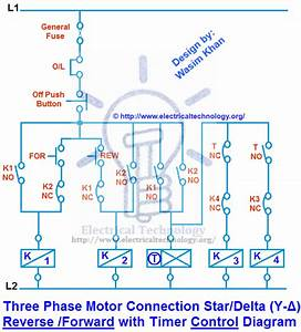 3 Phase Motor Connection Star  Delta  Y  Forward With Timer Control Diagram