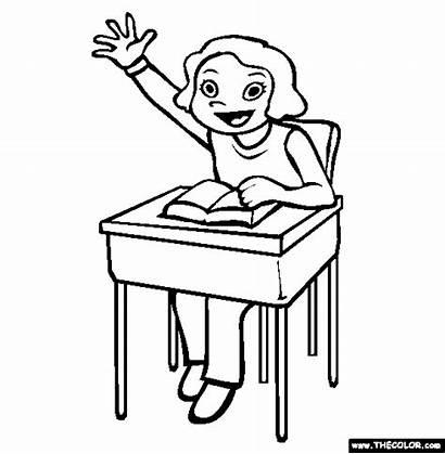 Coloring Hand Class Participation Pages Raise Classes