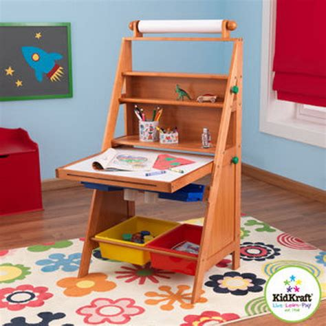 new kids wood art easel with paper roll chalk dry erase