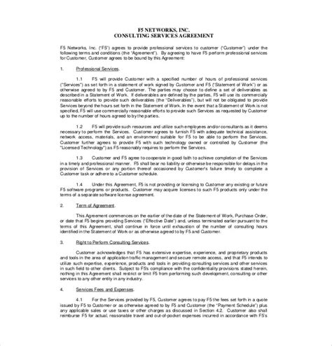 Scope Of Services Agreement Template by Consultant Agreement Template 15 Free Word Pdf